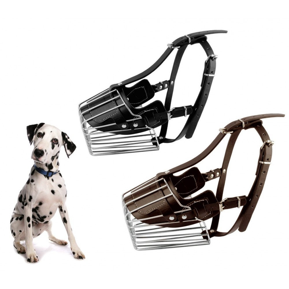 Museruola a cestello art. 5809 in acciaio e cuoio 13 cm cani taglia media