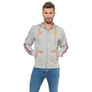 805001C Felpa da uomo Huntington polo club mod. California colore grigio con zip
