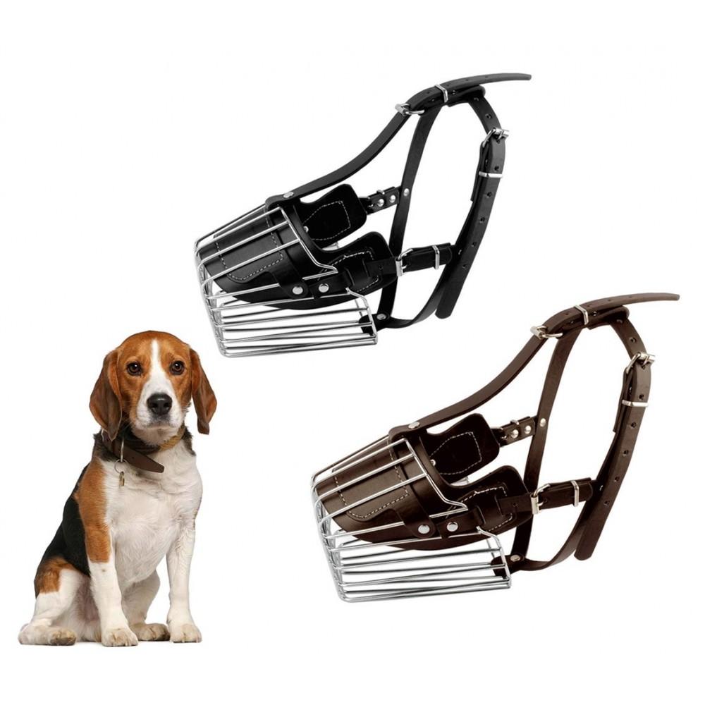 Museruola a cestello art. 5808 in acciaio e cuoio 9 cm cani taglia piccola