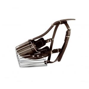 Image of Museruola a cestello art. 5808 in acciaio e cuoio 9 cm cani taglia piccola 6932125885412