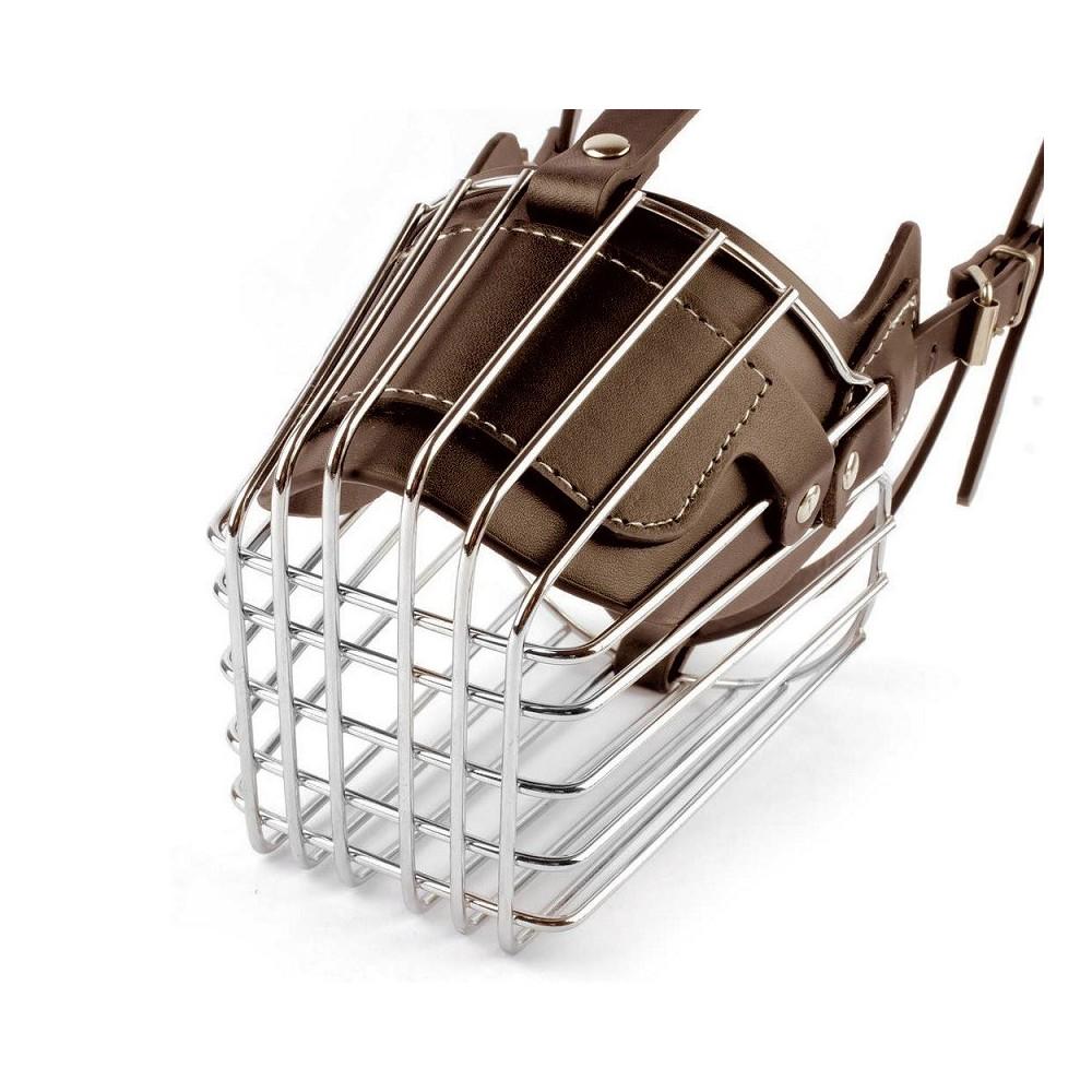 Museruola a cestello in acciaio e cuoio adatta per cani di for Marsupio per cani di piccola taglia