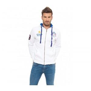 805002A Felpa da uomo Huntington polo club mod. Brooklyn colore Bianco con zip