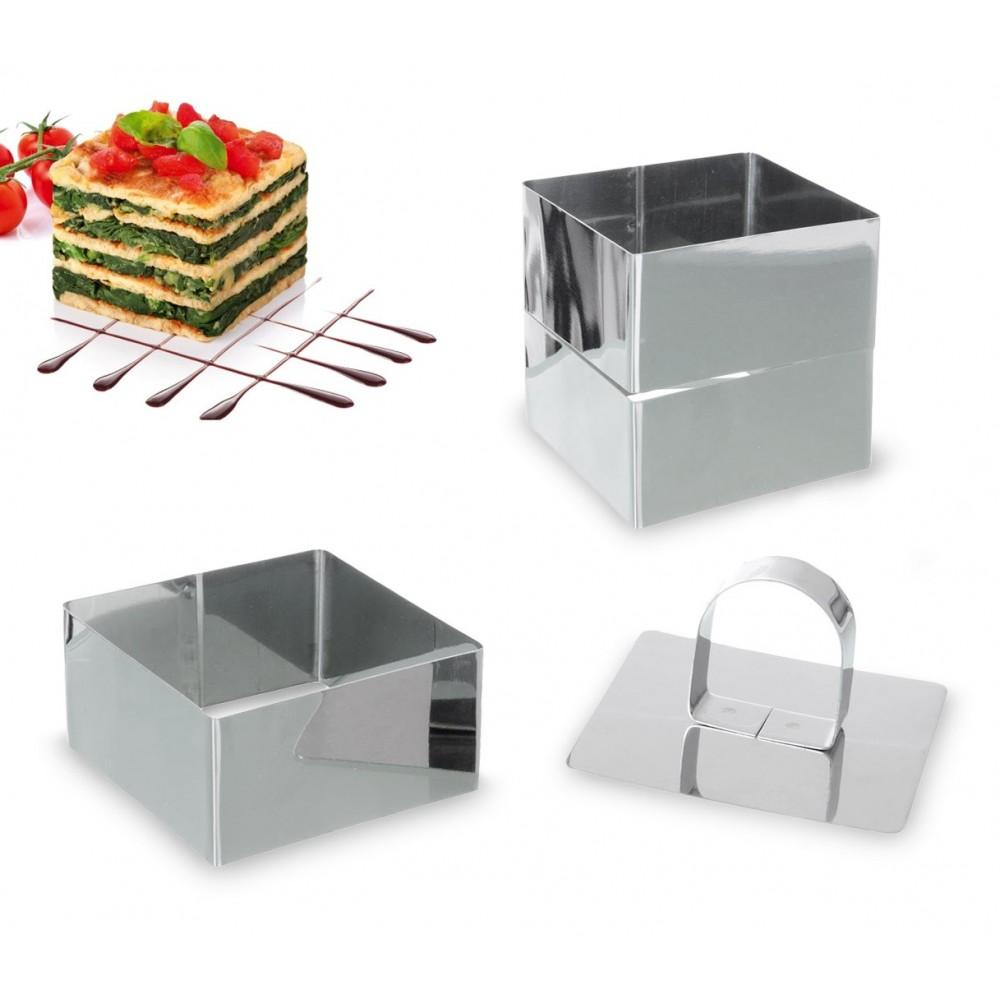702239 Set di 3 coppapasta quadrati in acciaio 8 cm con stantuffo GRAN CHEF