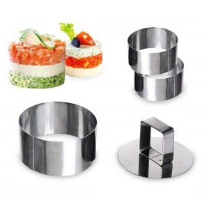Image of 702207 Set di 3 coppapasta rotondi in acciaio 8 cm con stantuffo GRAN CHEF 6912035697893