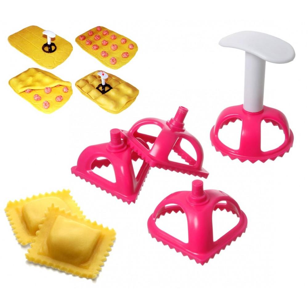 704636 Set di 4 formine taglia ravioli e biscotti in plastica con bordo dentato
