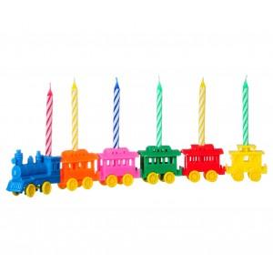 565111 Set di porta candeline a forma di trenino 6 pezzi compreso di candeline