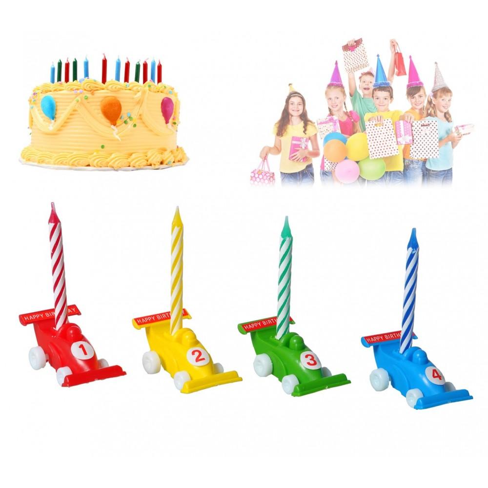 565110 Set porta candeline a forma di macchinina 12 pezzi compreso di candeline