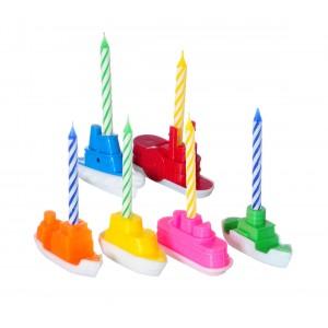 565109Set di porta candeline a forma di battello 6 pezzi compreso di candeline