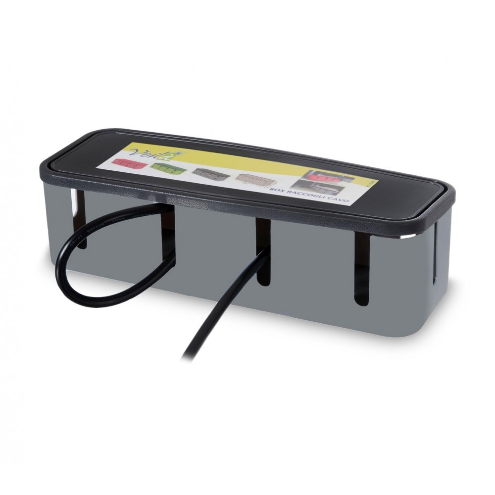 703422 Box raccogli VOILA' cavi da scrivania in plastica rigida 27x7.5x7.5cm