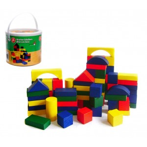 44026 Bidoncino di mattoncini in legno 50 pz adatto per bambini dai 2 anni