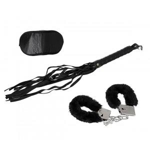 748988 Set 3 accessori per adulti sexy sadomaso con manette e frustino