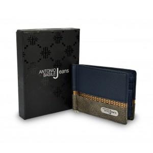 Image of Porta carte da uomo 8858 PSB30 in pelle ANTONIO BASILE con ferma soldi centrale 7106899517575