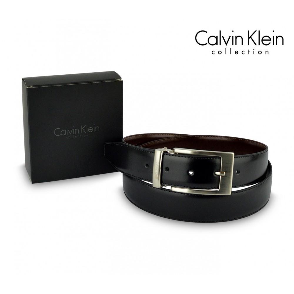 a9485a2011b50a CK014-B36 Cintura in pelle CALVIN KLEIN con fibbia in acciaio misura unica