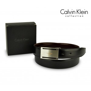 CK014-B44 Cintura in pelle CALVIN KLEIN con fibbia in acciaio con logo
