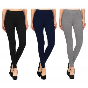 BM03 Leggings da donna nero in cotone elasticizzato taglie dalla S alla XL