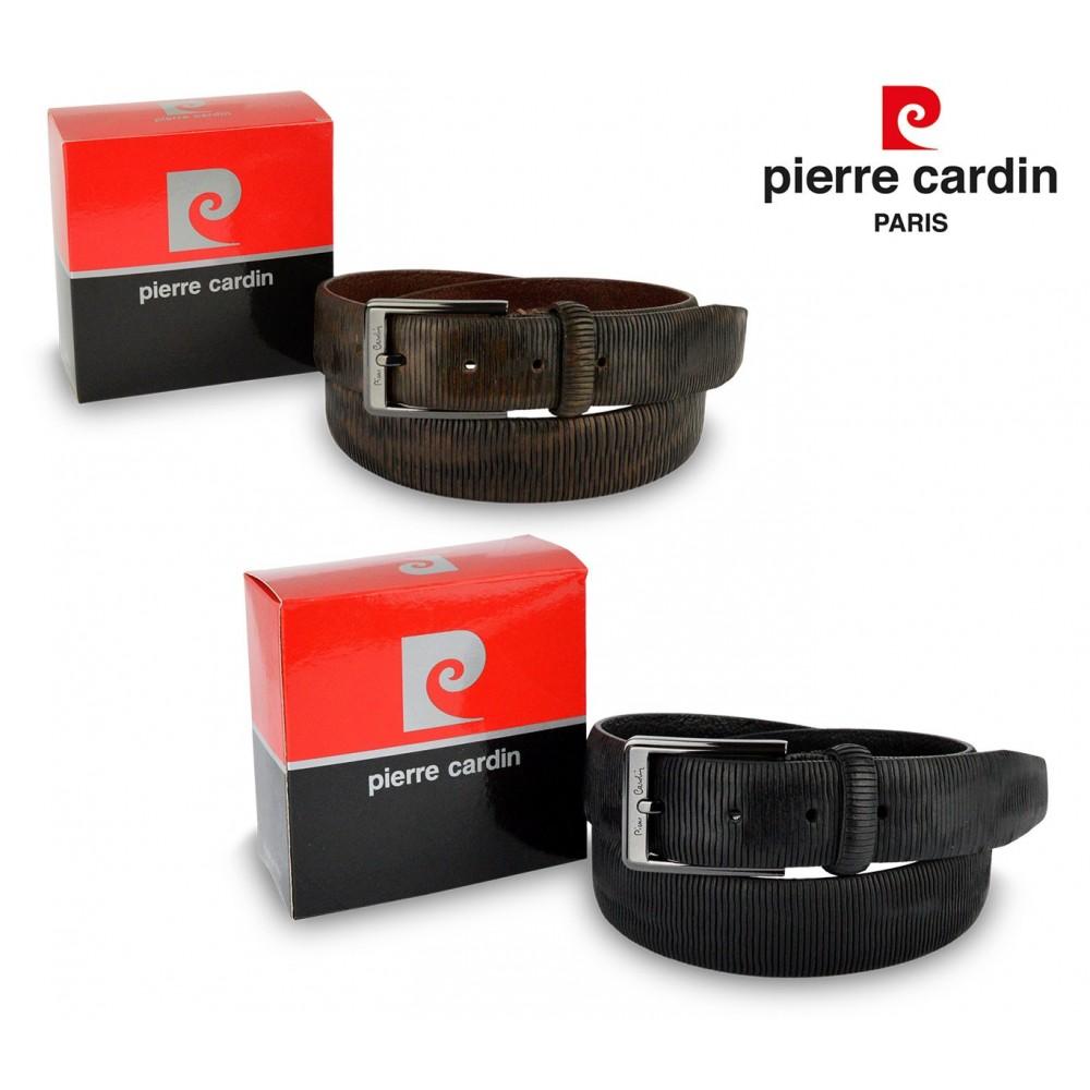 Cintura uomo 8013 vera pelle PIERRE CARDIN marrone e nero fibbia con logo