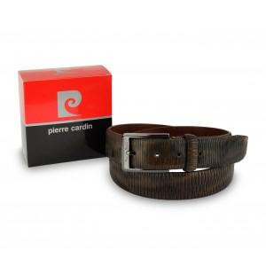 Image of Cintura uomo 8013 vera pelle PIERRE CARDIN marrone e nero fibbia con logo 7106899654263