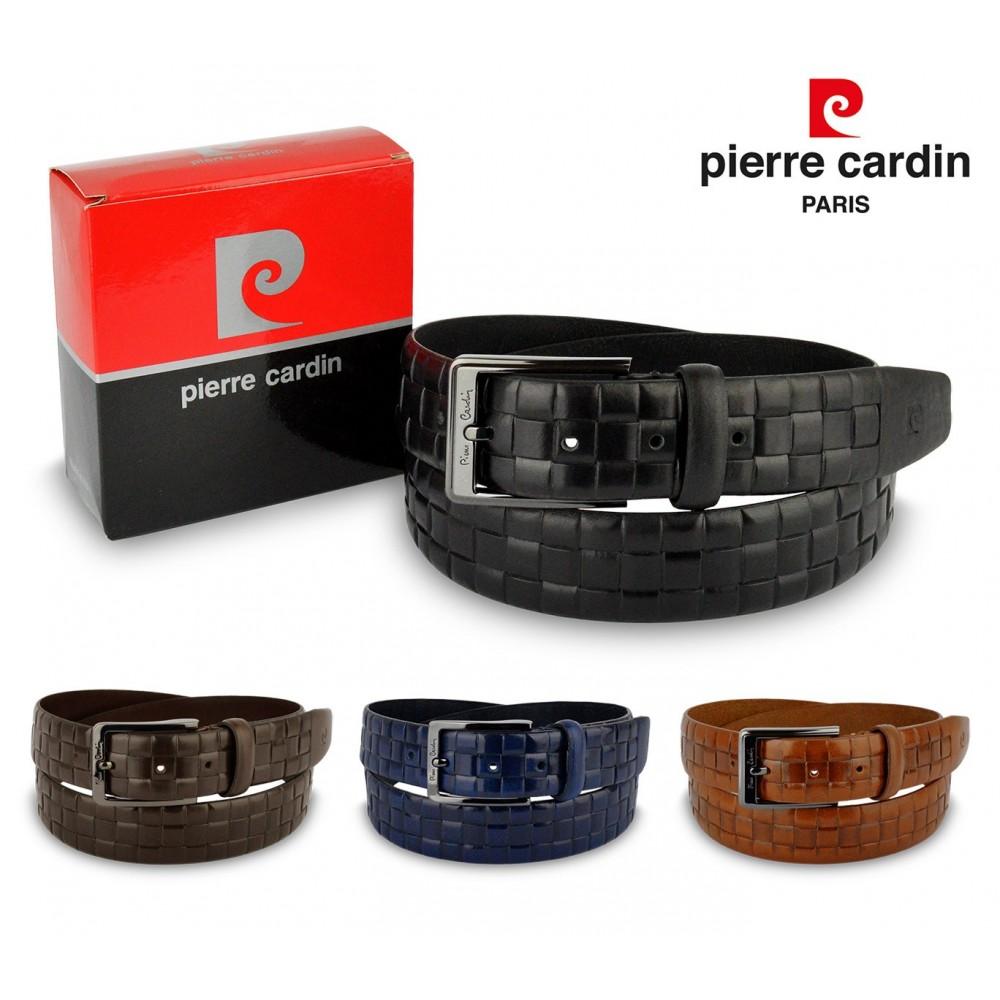 Cintura uomo 8006 vera pelle morbida PIERRE CARDIN trama quadrettata
