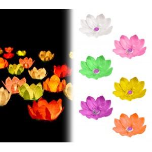 747011 Pack da 5 lanterne fiore di loto galleggianti 30 x 30 cm colori assortiti