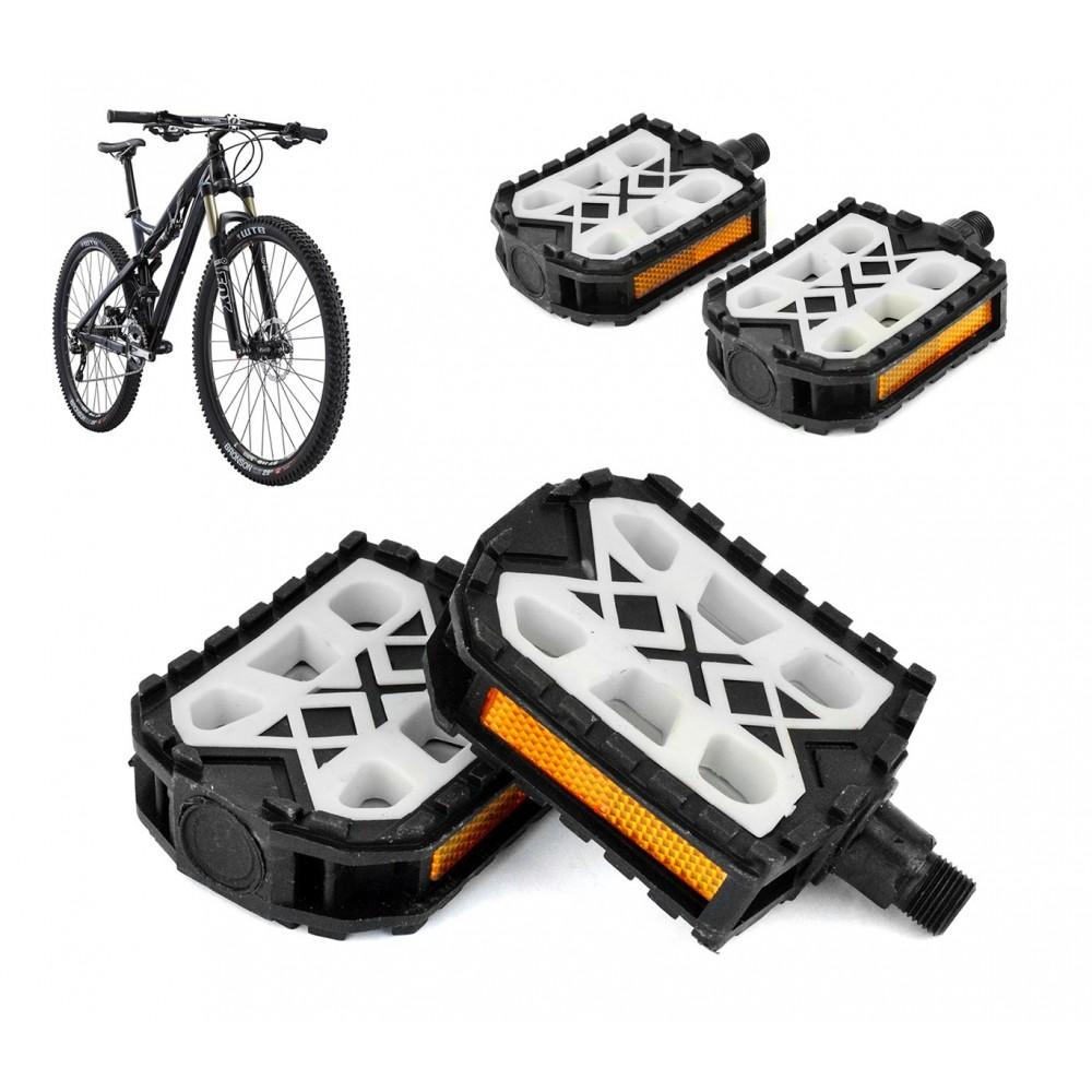 Coppia pedali in plastica FLAT ricambio bicicletta 300064 perno ø 14.2 mm neri