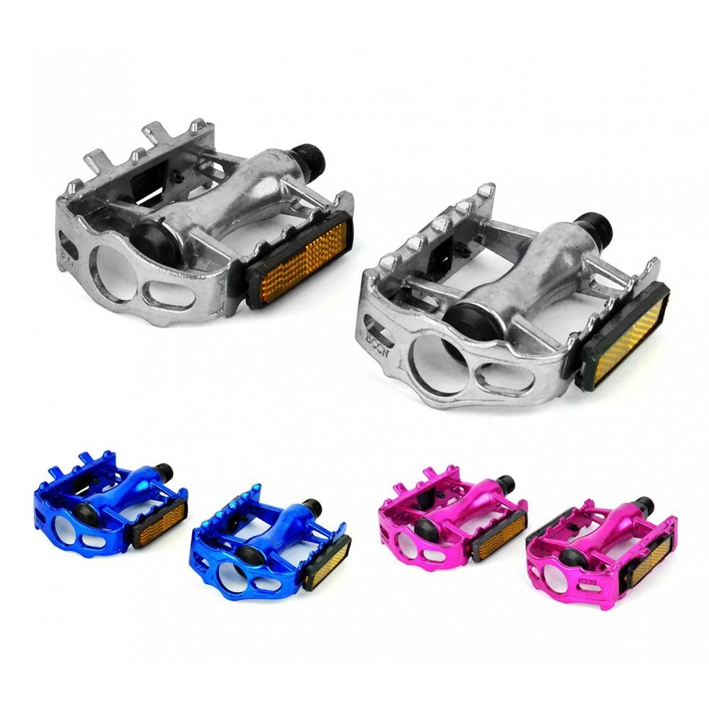 Coppia pedali alluminio FLAT ricambio bici 300057 perno ø 14.2 mm