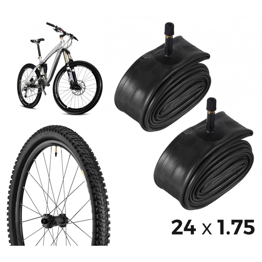 Kit di 2 camere d'aria per la bicicletta 304550 riparazione forature 24 x 1.75