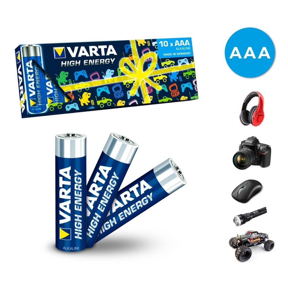 Confezione da 10 batterie mini stilo AAA Varta 774128 alcaline LR03 1.5V