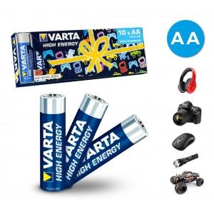 774098 Confezione risparmio da 10 batterie stilo AA Varta alcaline LR6 1. 5V