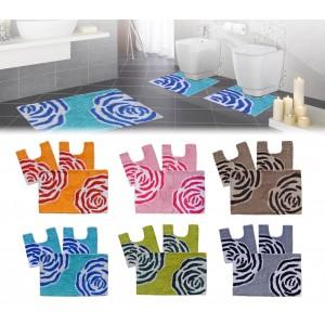 2624 Set in coordinato di 3 pz tappetini per il bagno FLOW arredamento bagno