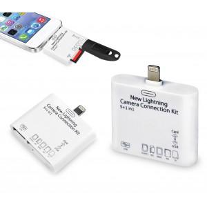 Lettore 5 in 1 memory card e usb con connettore LIGHTNING per smartphone