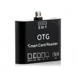 Image of Lettore 5 in 1 memory card e usb con connettore micro usb per smartphone 7106899277608