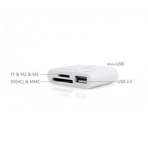 Lettore 5 in 1 memory card e usb con connettore micro usb per smartphone
