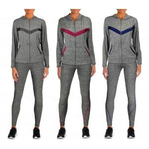 K7732 Tuta sportiva da donna felpa e pantaloni lunghi in tre colori
