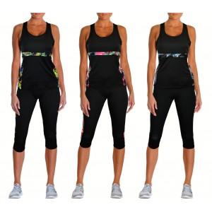 Completo sportivo da donna GIUNONE canotta e leggings al polpaccio in 3 colori