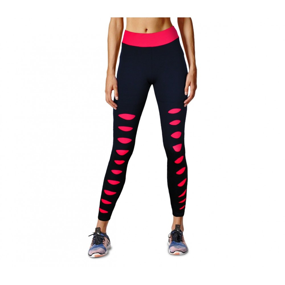 3809855916 KZ-311 Leggings sportivo da donna con strappi e dettagli fluo a vita alta