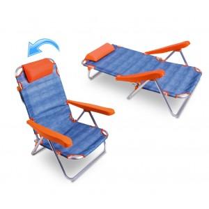 Spiaggina totalmente reclinabile  ONSHORE 379837 con braccioli e cuscino