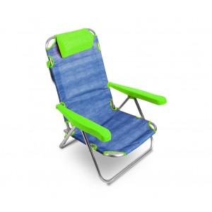 Image of Spiaggina alluminio totalmente reclinabile ONSHORE 379837 con braccioli cuscino 7106891516279