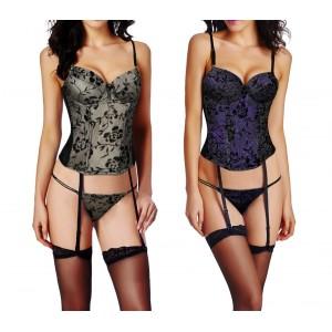 Completino lingerie sexy ZH0063 corsetto tanga mod.SENSUAL in due colori