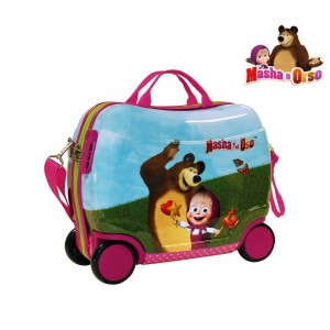 Image of 2651051 Trolley bagaglio a mano rigido cavalcabile Masha e Orso 40x33x19cm 7106893878917