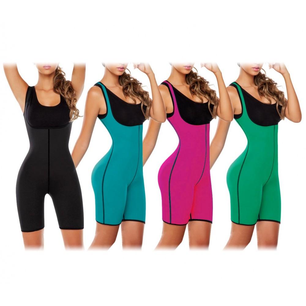 Tuta body sauna modellante effetto snellente a pantaloncino in vari colori