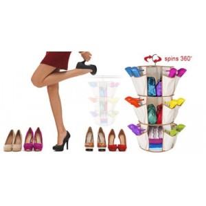 Image of Organizer 360° girevole 24 Tasche 3 ripiani multifunzione per scarpe e accessori 8045789658907