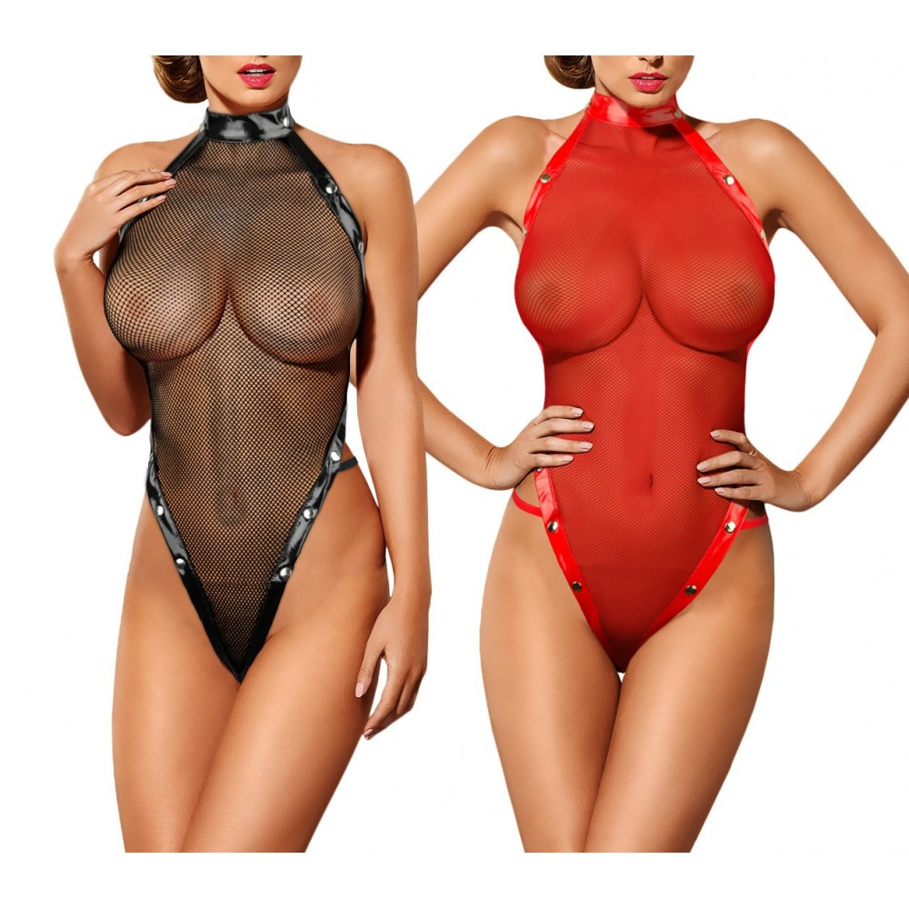 Body sexy in rete sgambato FABULAS art. 037E con borchie taglia unica