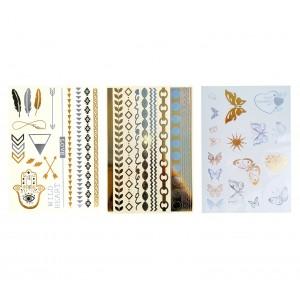 Kit Tatuaggi semipermanenti metallici oro tatoo removibile  vari disegni