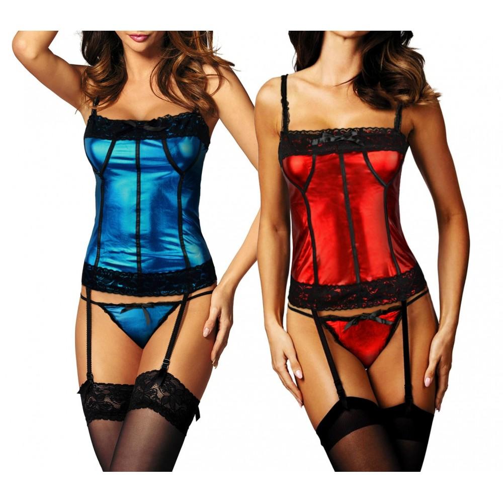 Completino lingerie sexy art. 102C corsetto tanga mod. XENA con reggicalze