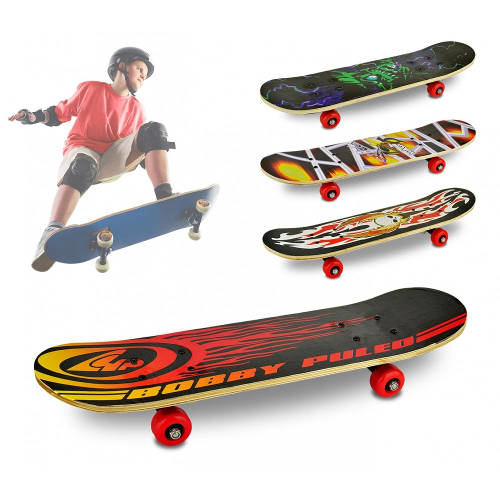 748273 Skateboard per bambini e ragazzi 4 ruote diversi modelli 59 x 15 x 8 cm