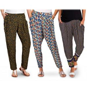 TG08 Pack da 3 pantaloni da donna modello HAREM tessuto morbido fantasia fiori