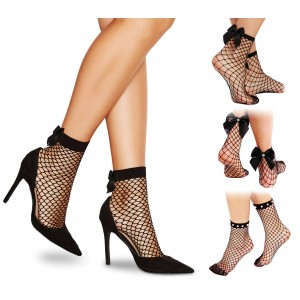 DSW Pack da 3 paia di calzini a rete modello FANCY neri alla caviglia