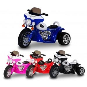 LT 846 Moto elettrica per bambini POLICE tre ruote 6V suoni e luci realistici