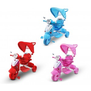 LT 854 Triciclo a spinta con pedali per bambini lettore mp3 e cappottina