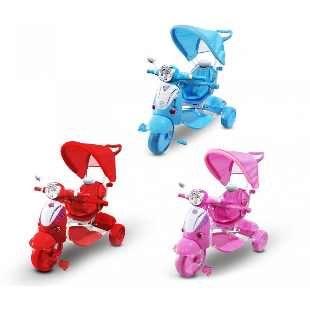 Triciclo a spinta con pedali LT854 per bambini SPECIAL con cappottina